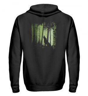 Einsamer Wolf im Zwielicht Wald - Zip-Hoodie-16