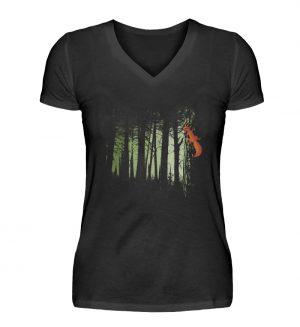 Eichhörnchen im Zwielicht-Wald - V-Neck Damenshirt-16