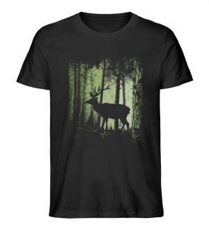 Hirsch im Zwielicht Wald - Herren Premium Organic Shirt-16