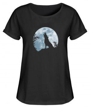 Heulender Wolf Silhouette vor Vollmond - Damen RollUp Shirt-16
