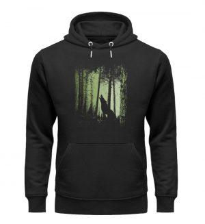 Einsamer Wolf im Zwielicht Wald - Unisex Organic Hoodie-16