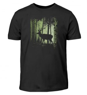 Hirsch im Zwielicht Wald - Kinder T-Shirt-16