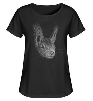Eichhörnchen Bleistift Illustration - Damen RollUp Shirt-16