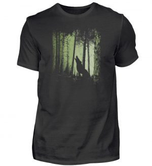 Einsamer Wolf im Zwielicht Wald - Herren Shirt-16