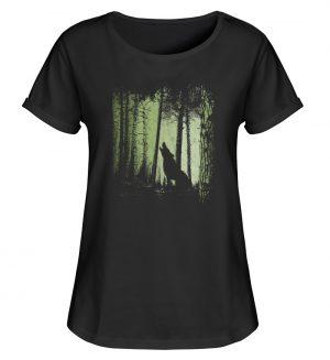 Einsamer Wolf im Zwielicht Wald - Damen RollUp Shirt-16