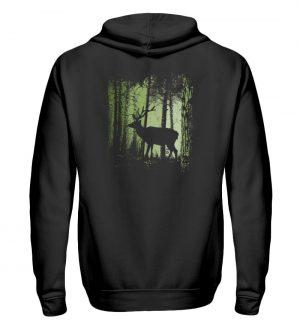 Hirsch im Zwielicht Wald - Zip-Hoodie-16