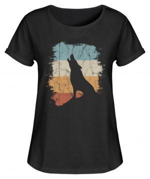 Retro Style lässig heulender Wolf - Damen RollUp Shirt-16