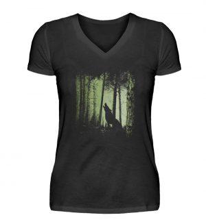 Einsamer Wolf im Zwielicht Wald - V-Neck Damenshirt-16