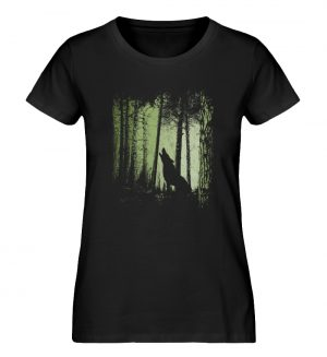 Einsamer Wolf im Zwielicht Wald - Damen Premium Organic Shirt-16