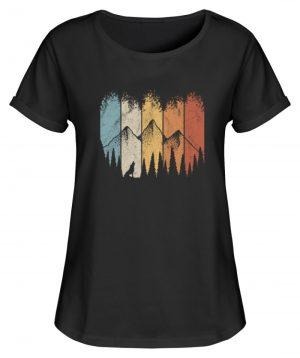 Retro Wald, Berge und Wolf - Damen RollUp Shirt-16