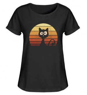 Schwarze Katze vor Retro Sonnenuntergang - Damen RollUp Shirt-16