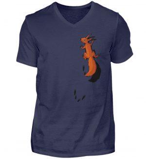 kletterndes Eichhörnchen mit Spuren - Herren V-Neck Shirt-198