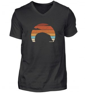 Retro Igel Silhouette im Sonnenuntergang - Herren V-Neck Shirt-16