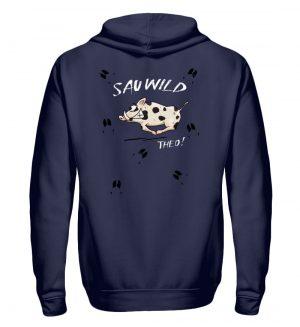 Sauwild wilde Sau | Wildschwein Theo - Zip-Hoodie-198