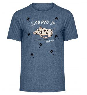 Sauwild wilde Sau | Wildschwein Theo - Herren Melange Shirt-6803