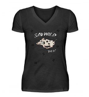 Sauwild wilde Sau | Wildschwein Theo - V-Neck Damenshirt-16