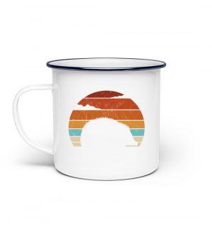 Retro Igel Silhouette im Sonnenuntergang - Emaille Tasse-3