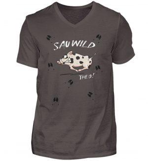 Sauwild wilde Sau | Wildschwein Theo - Herren V-Neck Shirt-2618