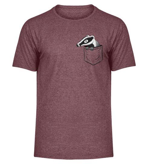 Lustig gemütlicher Dachs In der Tasche - Herren Melange Shirt-6805