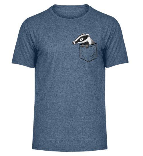 Lustig gemütlicher Dachs In der Tasche - Herren Melange Shirt-6803