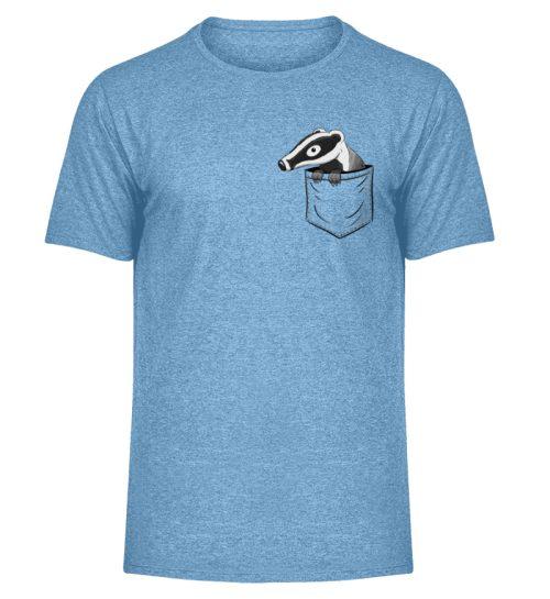 Lustig gemütlicher Dachs In der Tasche - Herren Melange Shirt-6806