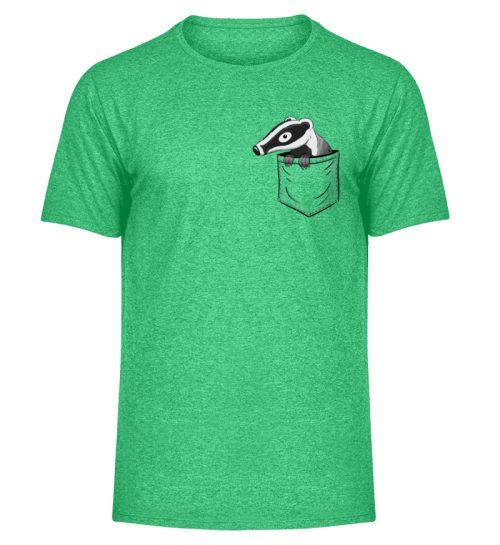 Lustig gemütlicher Dachs In der Tasche - Herren Melange Shirt-6804