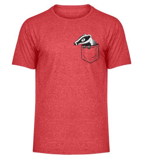 Lustig gemütlicher Dachs In der Tasche - Herren Melange Shirt-6802