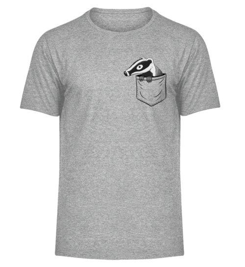 Lustig gemütlicher Dachs In der Tasche - Herren Melange Shirt-6807