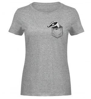 Lustig gemütlicher Dachs In der Tasche - Damen Melange Shirt-6807