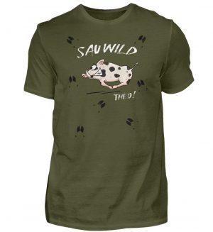 Sauwild wilde Sau | Wildschwein Theo - Herren Shirt-1109