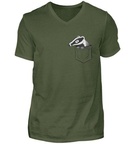 Lustig gemütlicher Dachs In der Tasche - Herren V-Neck Shirt-2587