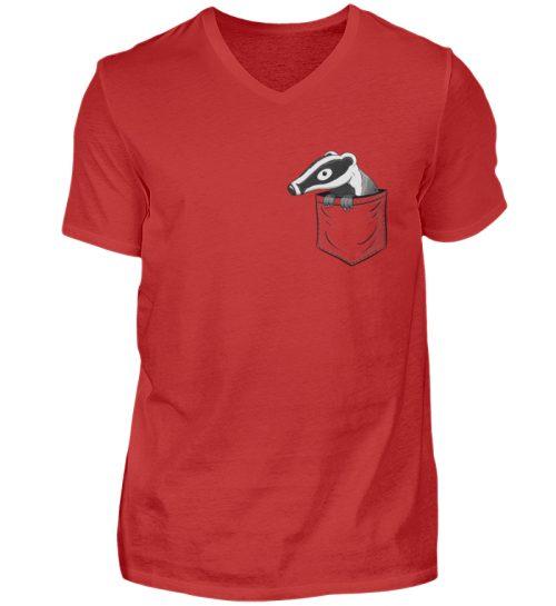 Lustig gemütlicher Dachs In der Tasche - Herren V-Neck Shirt-4