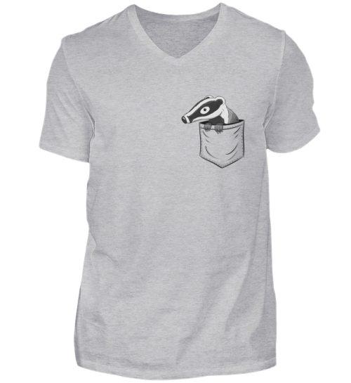 Lustig gemütlicher Dachs In der Tasche - Herren V-Neck Shirt-17