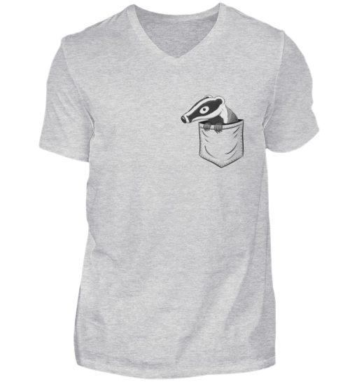 Lustig gemütlicher Dachs In der Tasche - Herren V-Neck Shirt-236
