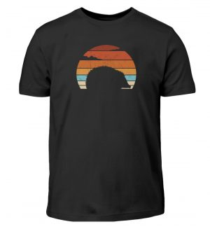 Retro Igel Silhouette im Sonnenuntergang - Kinder T-Shirt-16