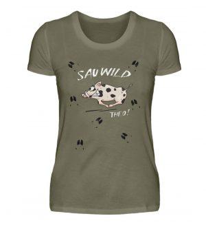 Sauwild wilde Sau | Wildschwein Theo - Damen Premiumshirt-627