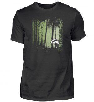frecher Dachs im Zwielicht Wald - Herren Shirt-16