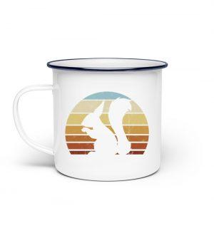 Retro Eichhörnchen Silhouette - Emaille Tasse-3