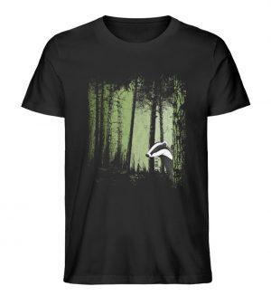 frecher Dachs im Zwielicht Wald - Herren Premium Organic Shirt-16