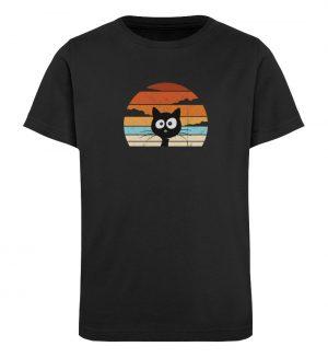 Retro schwarze Katze vor Sonnenuntergang - Kinder Organic T-Shirt-16