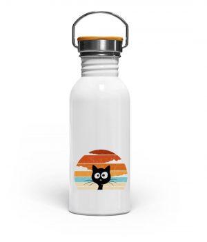 Retro schwarze Katze vor Sonnenuntergang - Edelstahl Trinkflasche-3