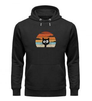 Retro schwarze Katze vor Sonnenuntergang - Unisex Organic Hoodie-16