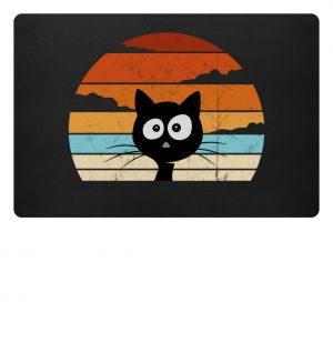 Retro schwarze Katze vor Sonnenuntergang - Fußmatte-16
