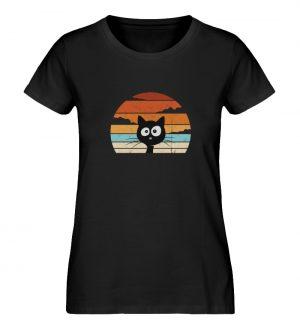 Retro schwarze Katze vor Sonnenuntergang - Damen Premium Organic Shirt-16