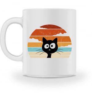 Retro schwarze Katze vor Sonnenuntergang - Tasse-3
