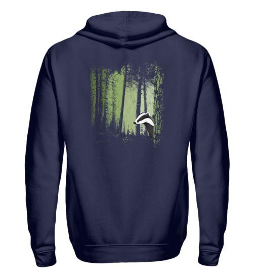 frecher Dachs im Zwielicht Wald - Zip-Hoodie-198