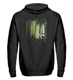 frecher Dachs im Zwielicht Wald - Zip-Hoodie-16