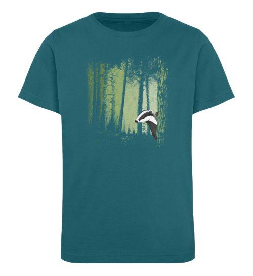 frecher Dachs im Zwielicht Wald - Kinder Organic T-Shirt-6889