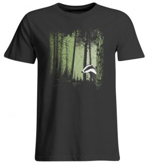 frecher Dachs im Zwielicht Wald - Übergrößenshirt-639