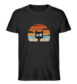Retro schwarze Katze vor Sonnenuntergang - Herren Premium Organic Shirt-16